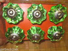 NEW* Glass Cabinet Knobs Knob Cupboard Drawer Pull Set of 6 Green Silver