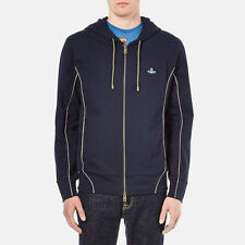 Authentic Vivienne Westwood MAN Tybald Navy Gold Trim Orb Logo Zipped Hoodie M
