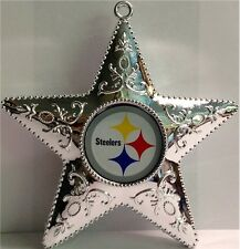 Pittsburgh Steelers Logo NFL Football Silver Star Holiday Tree Xmas Ornament