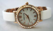 ANNE KLEIN Ladies WATCH 10/1442 MOP GOLD TONE DIAL 36 Crystal BEZEL Pearly WHITE