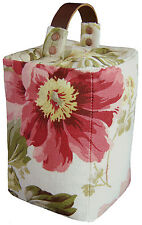 DOOR STOP Laura Ashley PEONY GARDEN cranberry ~ leather handle lounge bedroom