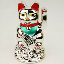 "Chinese Lucky Cat Waving Arm Good Luck 4.5"" Feng Shui Japanese Maneki Neko"