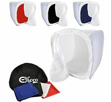 Ex-Pro Photo Studio Light Tent Soft Box Cube 40x40x40cm + 4 Coloured Backdrops