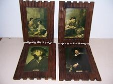 4 VTG CARVED PYROGRAPHY WOOD FAMOUS ARTIST PICTURES - GOTHIC MEDIEVAL DECOR