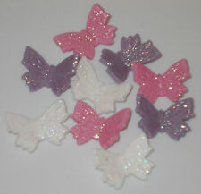 12 Edible Icing Pink Lilac White Sparkling Glitter Butterfly Cup Cake Toppers