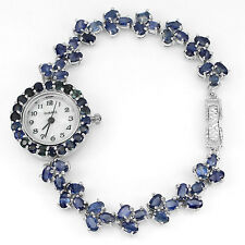 Sterling Silver 925 Stunning Genuine Rich Blue Sapphire Watch 7.5 Inches
