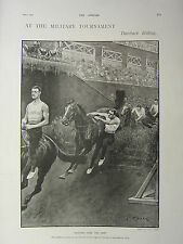 1900 VICTORIAN PRINT ~ MILITARY TOURNAMENT BAREBACK RIDING JUMPS CAVALRY DEPOT