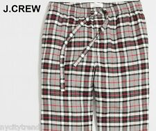 New J.CREW pajama pants S flannel grey tartan red black check plaid lounge S NWT