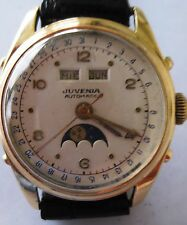 Juvenia 18K Automatic Triple Calendar Moonphase Watch Ref # 55975, Circa 1940's