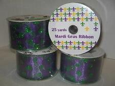 "Mardi Gras Wired Ribbon 2.5"" x 25 yard rolls Lot of 4  Purple w/ green Dots New"