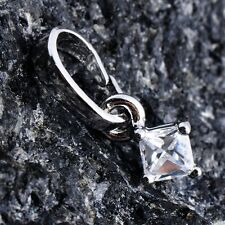 14K White Gold Plated Womens Silver Square Crystal Pendant For Long Necklace