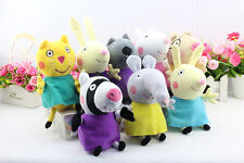 "8Pcs Peppa Pig Friends Plush Doll Stuffed Toy 7.5"" Suzy Sheep Rebecca Rabbit"