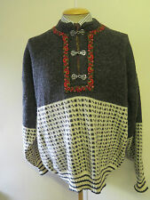 Traditional Vintage Nordic Norwegian Pattern Clasp Neck Jumper Size XL 46-48""