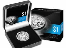 2014 $1 Fine Silver Proof High Relief Coin - 30th Anv of the $1 Mob Of Roos Coin