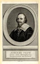 Portrait de Adriaan Pauw Leyde - Gravure originale XVIIIème siècle