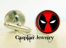 one pair Deadpool Fashion Cufflinks 14mm Silver  Logo Cufflinks