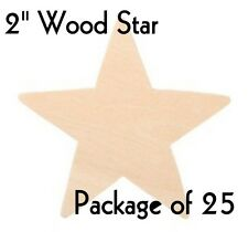 "STAR ~ 2"" ~ Wood Cutout Craft Shape ~ Unfinished { Lot of 25 } ~ by PLD"