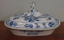 Antique Meissen Blue Onion Covered Serving Dish Tureen Vegetable