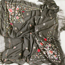 ANTIQUE BLACK SILK PIANO SHAWL MANTILLA WITH PEONIES BOUGHT MADRID 1932 CHINA