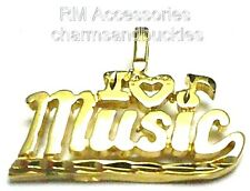 I Love Music Charm Pendant EP Gold Plated Jewelry with a Lifetime Guarantee!