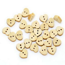 100PCs Love Heart 2 Hole Wood Sewing Buttons Scrapbooking 13x11mm