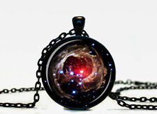 New Galaxy Charm Glass Dome Cabochon Black Chain Necklace Pendant #04