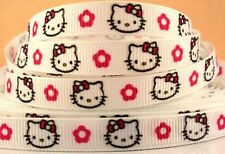 "1 metre x 3/8 "" HELLO KITTY BOW & FLOWERS ON WHITE Grosgrain Ribbon"