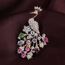 NiX 1378 Brooch Peacock Gold Plated Pearl Crystal Flower Multi Wedding Women New