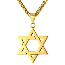 Large Gold Star Of David Magen Judaica Necklace Jewish Pendant 22 Inch Chain