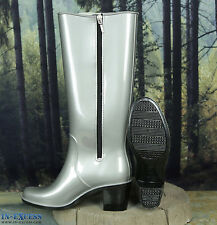 Womens Briers Silver High Heeled Wellington Wellies Boots Size 7