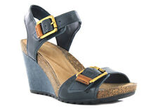 NEW CLARKS OVERLY SPARKLE NAVY LEATHER WEDGE SANDAL SIZE 7D