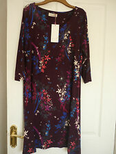 WONDERFUL PER UNA WINE RED FLORAL JERSEY TUNIC DRESS UK 14, EUR 42, US 10. BNWT