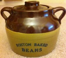 BOSTON BAKED BEANS Crock with Lid Blue Lettering Excellent Condition