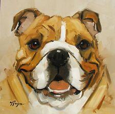 Pintura al óleo originales-Retrato de un perro bulldog inglés-por J Payne