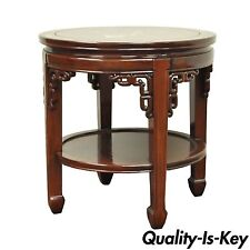 Vintage Chinese Oriental Asian MOP Inlay Solid Wood Round Side Accent Lamp Table