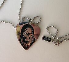 """Star Wars Han Cholo Silver Chewbacca Guitar Pick Necklace Pendant 30"""" New in Box"""
