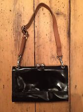 Marks & Spencer Autograph Black Patent Leather Shoulder or Clutch Bag With Strap