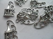 20 Antique Silver LARGE Bird in Cage Charms,Beads pendant 35x20mm crafting hobby