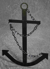 "Handcrafted Black Navy Ship Metal Anchor 34"" Steel Nautical Decor Made USA"