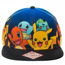 POKEMON PIKACHU, CHARMANDER, BULBASAUR & SQUIRTLE GRADIENT SNAPBACK CAP *NEW