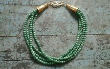 Four Strand Green Opal Necklace with Vermeil Clasp