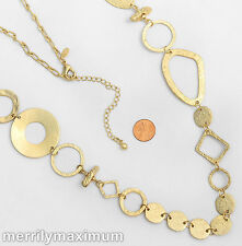Chico's Signed Necklace Long Gold Tone Chunky Chain Rings Disks Geometric NWOT