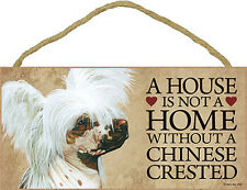 Chinese Crested Wood Dog Sign Wall Plaque 5 x 10 + Bonus Coaster