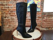 BCBG Black Leather Baroque Quilted High Heel Boot 8.5 NEW $495