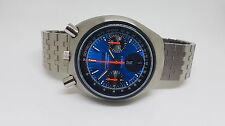 VERY RARE VINTAGE CITIZEN BULLHEAD CHRONOGRAPH BLUE DIAL DAYDATE MAN'S WATCH