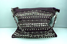 "Purple Bag Small Chain Studded Shoulder Handbag 13"" Wide x 11"" High"