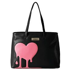 LOVE MOSCHINO Shoulder shopping bag in eco leather with heart BLACK/PINK
