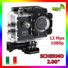 "PRO CAM SPORT ACTION CAMERA SUBACQUEA 12MP FULL HD 1080p 2"" WIFI NERO SJ4000 W9"