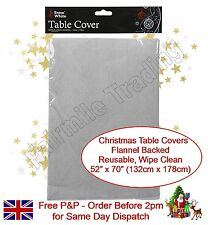 Silver Christmas Table Cloth Cover Flannel Backed Dining Table Xmas Decoration