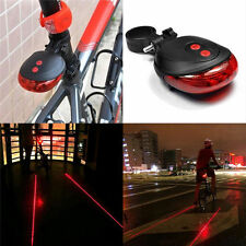 5 LED+ 2 Laser Cycling Bike Bicycle Rear Tail Safety Warning Flashing Light Lamp